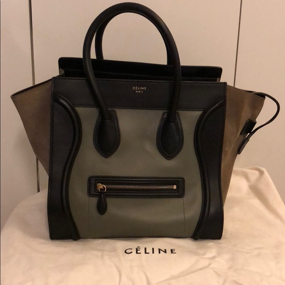 Celine Handbags - Smooth Calfskin Suede Tricolour Mini Luggage